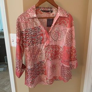 Annabelle Tops - NWT Annabelle Pink Collared Printed Top, XL
